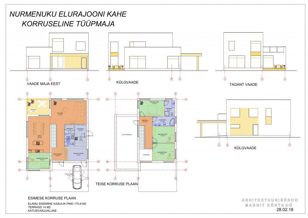 Nurmenuku kahe korruseline tüüpmaja 170 m2 1 e1535520352820 1024x724 - Nurmenuku eramu 170m2